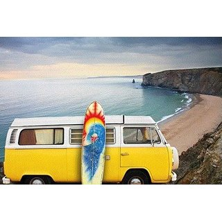 MondiArt Bild A Yellow Van With A Surf Board